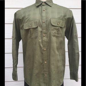 NWT CARIBBEAN JOE long sleeve Olive Green Shirt